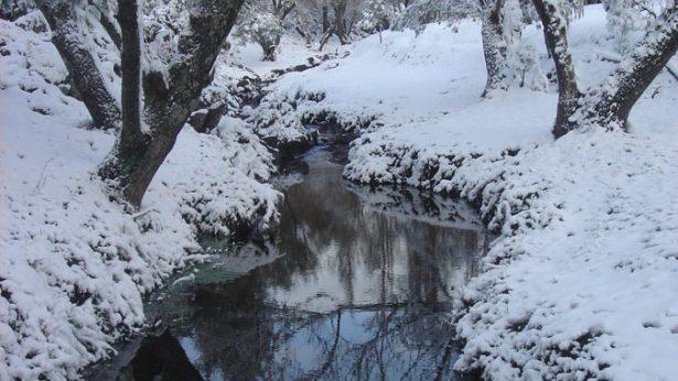 Paisaje nevado de la Posada Loma del Tigre